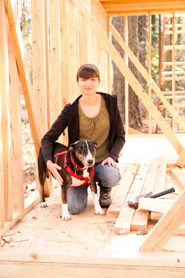 Pet portrait artist, Melinda, with her English Bull Terrier named Cypress