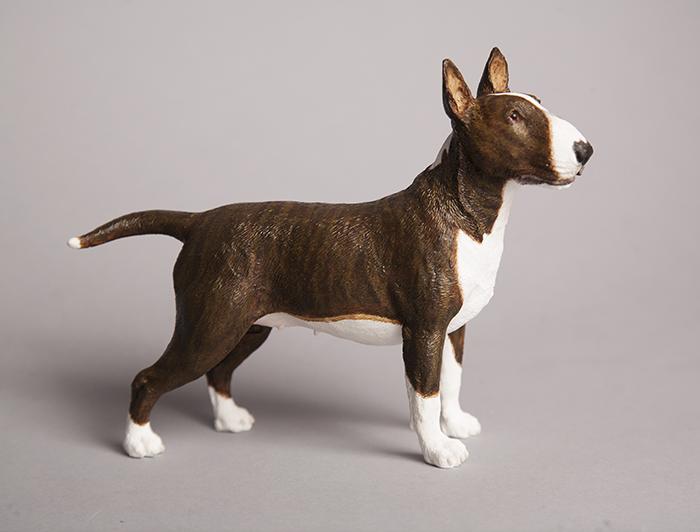 Custom painted brindle English Bull Terrier figurine