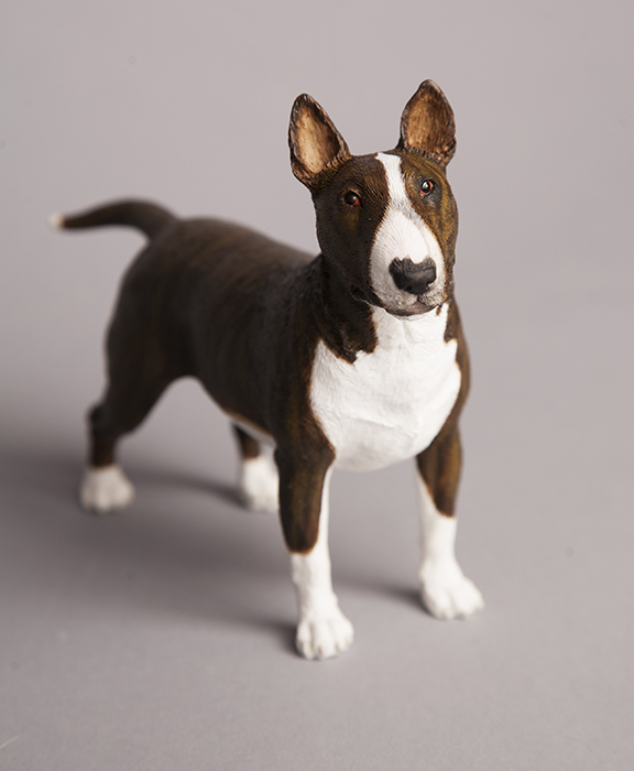 Custom painted brindle English Bull Terrier figurine