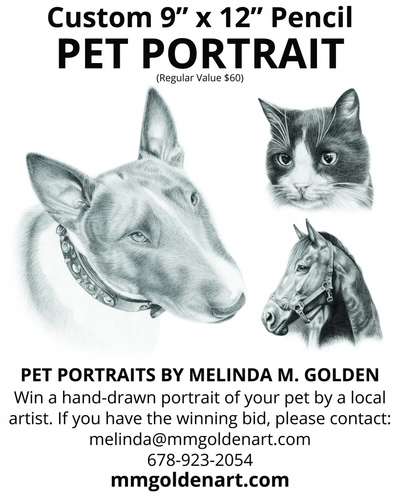 "9"" x 12"" pencil pet portrait for silent auction"