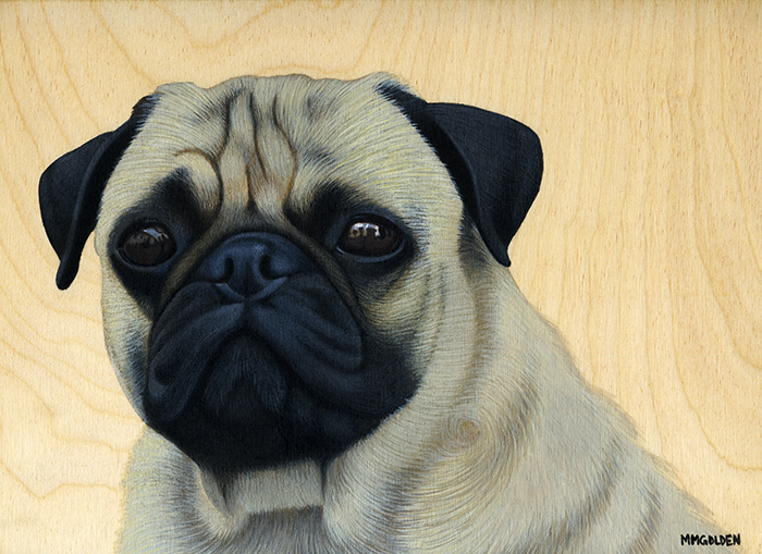Pug acrylic painting on birch